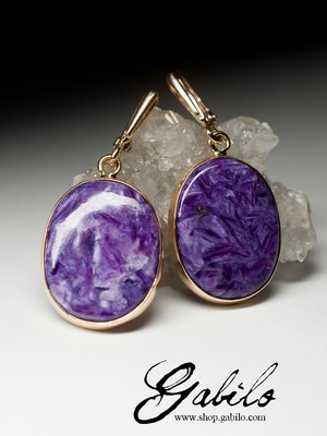 On order: gold earrings with charoite
