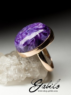 On order: a gold ring with charoite