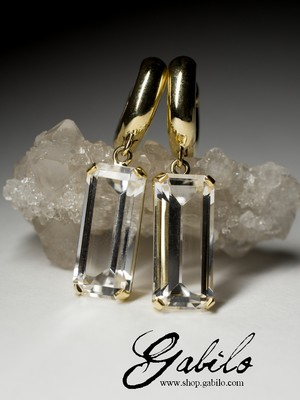 Made to order: Rock сrystal gold earrings