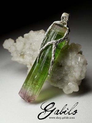 Large Polychrome Tourmaline Pendant