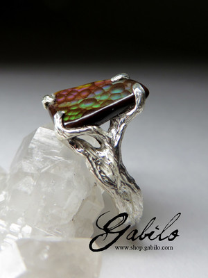 Silver ring with fire agate