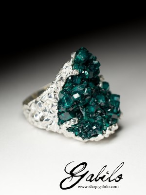 Large silver ring with dioptase
