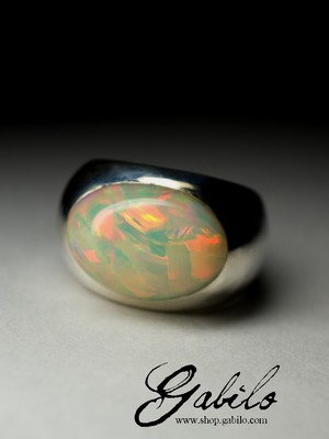 Men's big opal silver ring