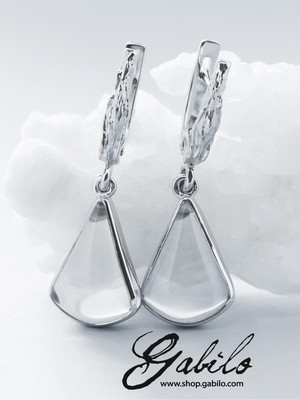 Silver rock crystal earrings