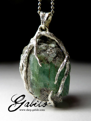 Green beryl silver pendant with gem report MSU