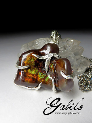 Silver pendant with fire agate