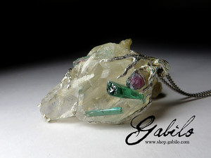 A large pendant with rock crystal and tourmaline in silver