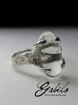 Ring with rhinestone in silver