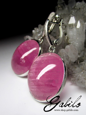 Rubellite with Cat's Eye Effect Silver Earrings