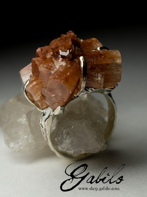 Silver ring with aragonite