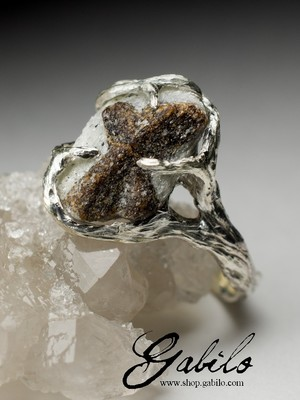 Silver ring with staurolite