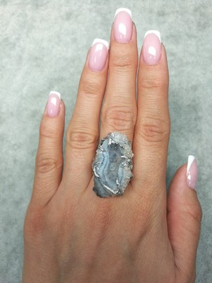 Agate Rose Silver Ring