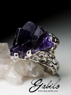 Beautiful Fluorite Crystal Silver Ring
