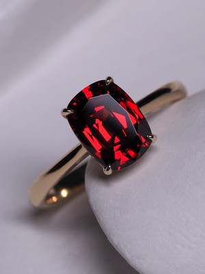 Almandine garnet gold ring