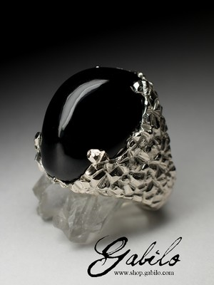 Male ring with black jade