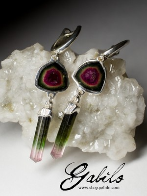Earrings with a watermelon tourmaline