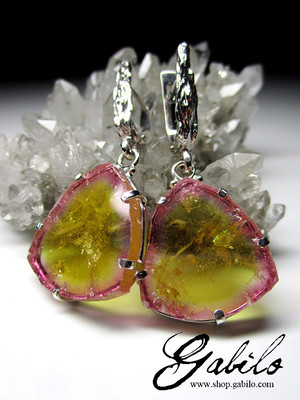 Slices Tourmaline Silver Earrings