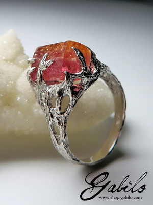 Imperial topaz silver ring
