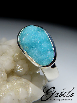 Hemimorphite white gold ring