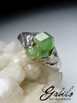 Demantoid Garnet Silver Ring