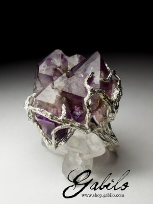 Big Amethyst Silver Ring