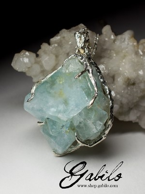 Large silver pendant with topaz