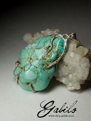 Large silver pendant with turquoise