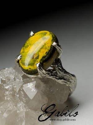 Silver ring with landscape jasper