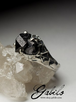 Silver Ring with Magnetite