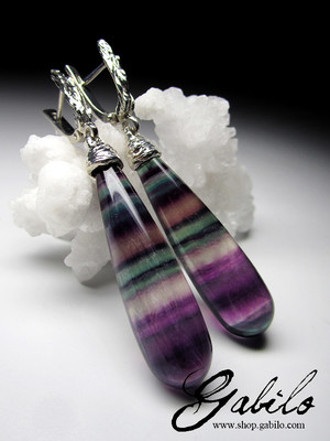 Big fluorite silver earrings