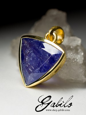Tanzanite Silver Gold Plated Necklace