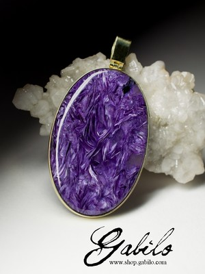 Gold Pendant with Charoite