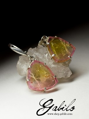 Earrings with tourmaline slices