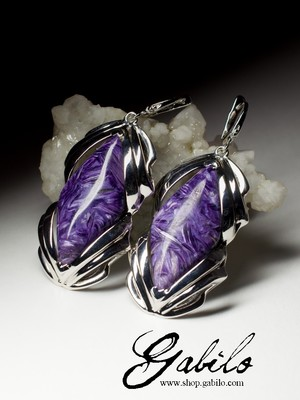 Large silver earrings with charoite