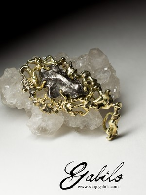 Made to order: Men's meteorite gold necklace