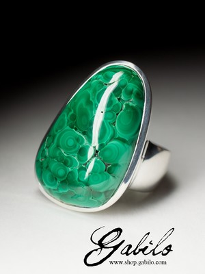 Silver ring with Ural malachite