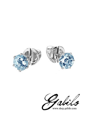 Aquamarine gold stud earrings