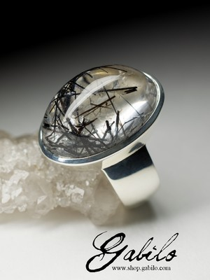 Men's quartz silver ring