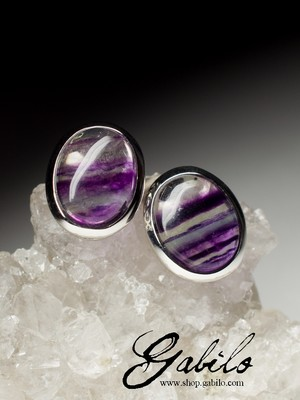 Fluorite Silver Stud Earrings