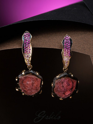 Tourmaline and Sapphire Golg Earrings