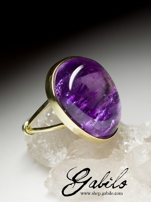 Polychrome Amethyst Gold Ring