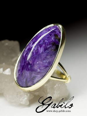 On order: ring with charoite in gold
