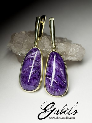 Earrings with charoite in gold