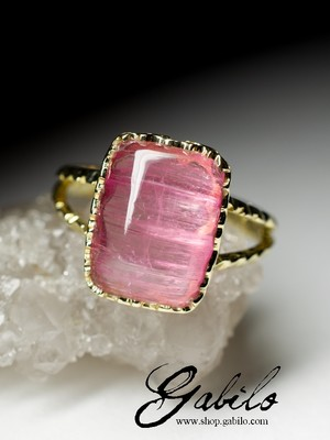 Rubellite with Cat's Eye Effect Gold Ring