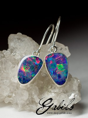 Earrings with black opal doublet