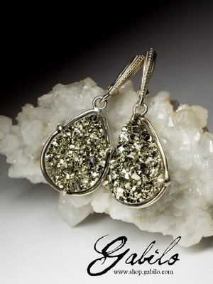 Earrings with pyrite in silver