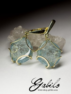 Made to order: Aquamarine gold earrings