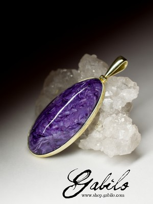 Gold pendant with charoite first grade
