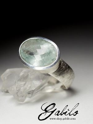 Men's aquamarine silver ring