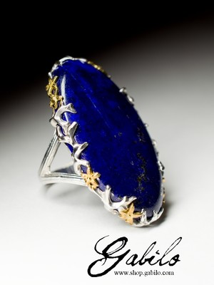Large ring with lapis lazuli in silver